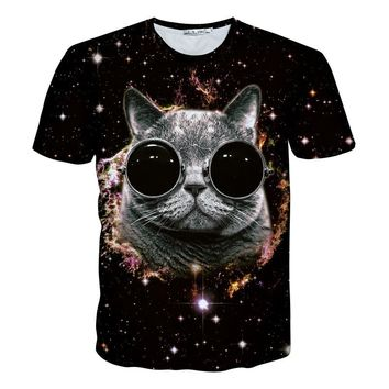 Cat Glasses Dark Galaxy Cat 3D Print Shirt