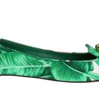 Green Banana Leafs Crystal Flats Ballet Shoes