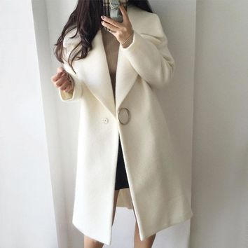 2018 White Wool Blend Coat Women Lapel Long Parka Winter Jacket Cocoon Style Elegant Woolen Coat Thicken Female Outerwear C3745
