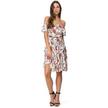 Wedtrend Slash Neck Off The Shoulder Mid-Length Women Dresses Beautiful Floral Print High Quality Cheap Spring New Beach Dresses
