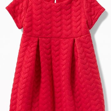 Quilted-Hearts Pleated Dress for Baby|old-navy