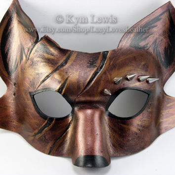Masquerade Mask, Leather Spiked Fox Mask, Prom Mask, Cosplay Costume, Copper Fox, Leather Masquerade Mask, Fox Fursona