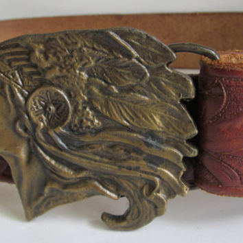 Joey Hand Tooled Leather Belt Large Indian Head Belt Buckle Vintage Leather Belt 1980s Leather Accessories Wide Leather Belt