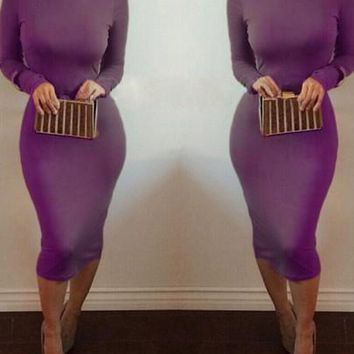 Purple High Neck Long Sleeve Clubwear Bodycon Midi Dress