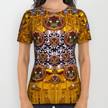 Golden metal and tulips All Over Print Shirt by Pepita Selles