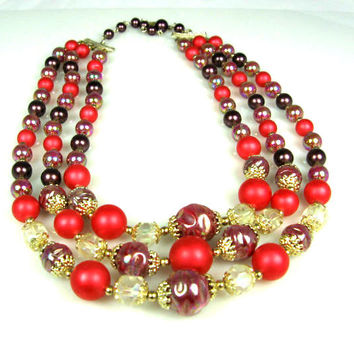 Vintage Three Strand Molded Glass Necklace