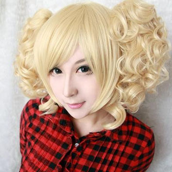 35cm short synthetic heat resistant curly Light golden lolita wig ponytails,Colorful Candy Colored synthetic Hair Extension Hair piece 1pc WIG-301B
