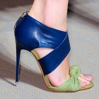 Summer Sexy Stripe Patched Leather Knot Peep  toe Stiletto High-Heeled shoes Pumps Zip Woman Cover Heels Party Dress Pump Shoes
