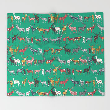 peacock green spice deer Throw Blanket by Sharon Turner