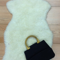 Black tote w wooden handle