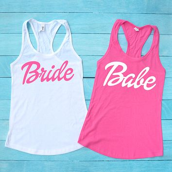 Bride and Bride's Babes Barbie Bachelorette Tank Tops