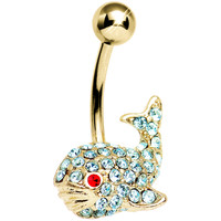 Aqua Gem Gold Plated Happy Whale Belly Ring | Body Candy Body Jewelry