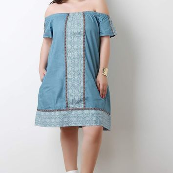 Chambray Printed Border Off-The-Shoulder Shift Dress