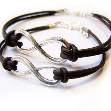 His & Hers Silver Infinity Brown Leather Adjustable Bracelet Set