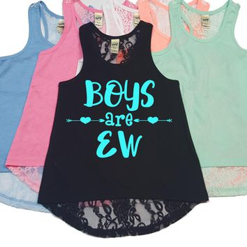 Boys Are Ew Lace Back Tank Top