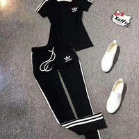One-nice™ Adidas Women Short sleeve Top Pants Sweatpants Set Two-Piece Set