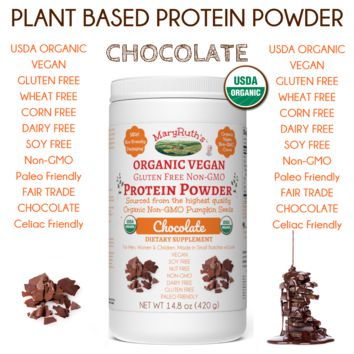Organic Vegan Protein Powder (Plant-Based) Chocolate Fudge (14.8) OZ- 15 Day Supply)