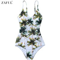 Women Plus Size Swimwear 2017 Coco Palm Tree Print One Piece Swimsuit Summer Beach Swimwear Bathing Suits Monokini