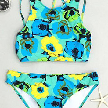 Cupshe I've Got the Flower Bright Bikini Set