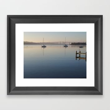 Thames River morning Framed Art Print by DJ Beaulieu
