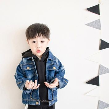 Trendy Boy Denim Jackets 2018 Fashion Spring autumn lapel Long Sleeve Boys Outwear Children Clothing Baby Autumn broken hole trend coat AT_94_13