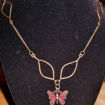 Simple Brassy Butterfly Necklace by StephDTLB on Etsy