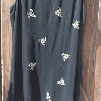 Vintage French Black Crepe Pencil Dress Jaqueline Riu Tag Beige Embroidered Medium/ Large