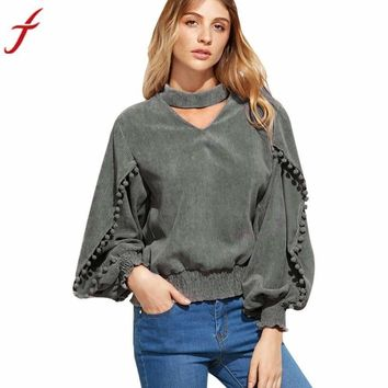 Summer Women Blouses Hanging Neck Long Sleeve Sexy V-Neck Shirt Top Casual Gray Loose Ladies Blusas