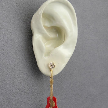 Hand Painted Red Guitar Magnetic Non Pierced Clip Earrings