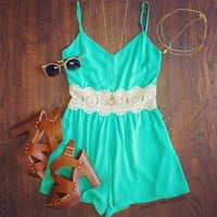Green Sleeveless V-Neck with Crochet Patch Romper