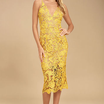 Dress the Population Marie Yellow Lace Midi Dress