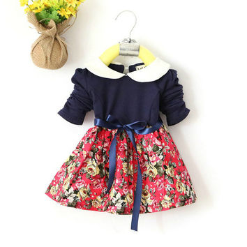 1-5Y Kids Baby Girls Princess Long Sleeve Pleat Floral Bow Mini Dress Party Tutu Dresses SM6