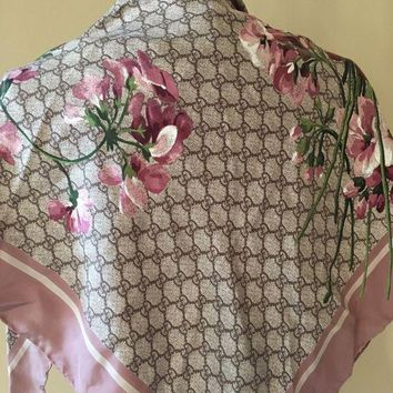 CREYON NEW GUCCI Floral-Print Guccissima Foulard Scarf Pink (SOLD OUT)