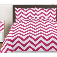 Hot Pink and White Chevron 3 Piece Childrens and Teen Zig Zag Full / Queen Girls Bedding Set Collection