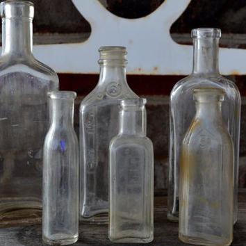 Clear Apothecary Glass Bottles from the 1930-40's