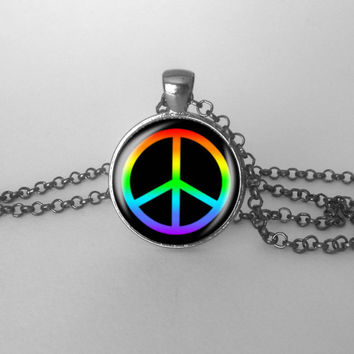 Peace Sign Rainbow Necklace Hippy Boho Grunge Love Peace Jewelry