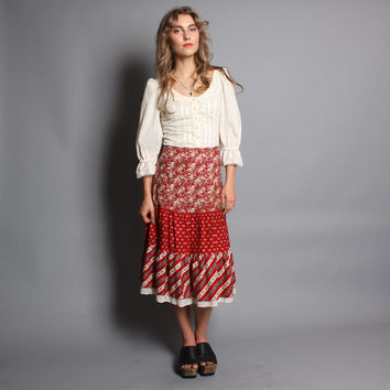 70s PRAIRIE SKIRT / Brick Red  Floral & Lace Midi. xs