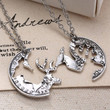 Steampunk Silver Tone Deer Necklace Crystal Pendant Jewelry Gift Chain Couple 2p