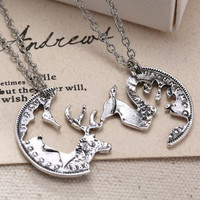 Jewelry Deer Style Women's Silver Tone Necklaces Crystal Pendent Chain Couple 2p = 1929976196