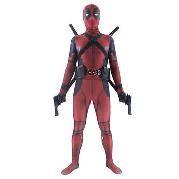 Deadpool Dead pool Taco  costume adult Man marvel cosplay  costumes men kids Wade Wilson Spandex Lycra Nylon Zentai bodysuit Halloween AT_70_6