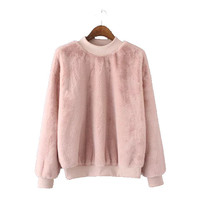 Stylish Korean High Neck Long Sleeve Pullover Women's Fashion Tops Hoodies [4919028356]