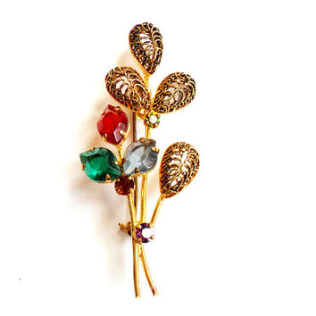 Vintage Rhinestone Spray Brooch - Made in Austria - Gold Tone Metal - Red Blue Green Purple - Filigree Wire - Floral Foliage