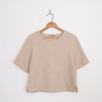 Gauze Blouse Gauze Top Gauze Shirt Burlap Oversize Top Oversize Shirt Crop Top Beige Top Beige Blouse Hippie Top Boho Top M Medium L Large