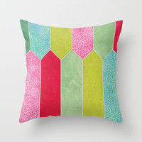 Patchwork Picket Fence Throw Pillow by micklyn