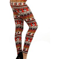 Snowman print Leggings,Orange