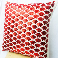 Red pillows with embroidered waves - Sashiko pillow - Red Cushion cover zipper -Throw pillow - gift pillow- 16x16 - Red sequin pillows