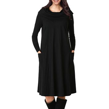 Casual Black Cowl Neck Long Sleeve Jersey Dress