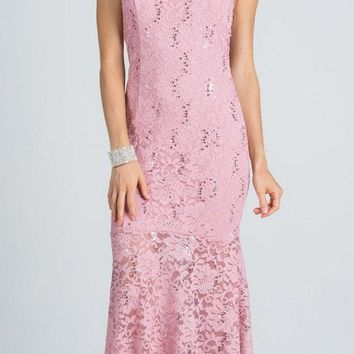 Embellished Neckline Halter Long Mermaid Formal Dress Blush