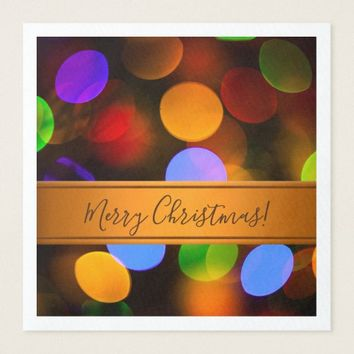 Multicolored Christmas lights. Add text or name. Paper Dinner Napkin