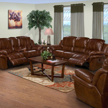 3 pc. brown leather match cabo standard motion reclining sofa, recliner and loveseat w/ console set